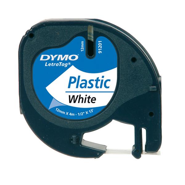 Nastro LetraTag per etichettatrici - 12 mm x 4 mt - in plastica -  bianco - Dymo Foto prodotto