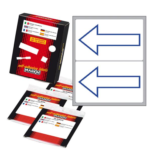 Etichetta adesiva permanente - 115 x 70 mm - Freccia alto - 2 etichette per foglio - 10 fogli per busta - bianco - Markin Foto prodotto