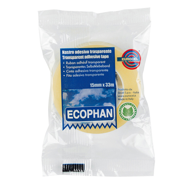 Nastro adesivo Ecophan - 15 mm x 33 mt - in caramella - trasparente - Eurocel Foto prodotto