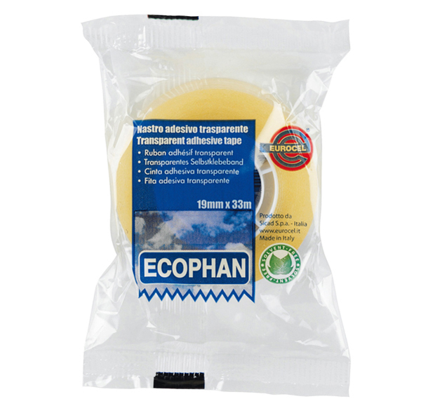 Nastro adesivo Ecophan - 19 mm x 33 mt - in caramella - trasparente - Eurocel Foto prodotto