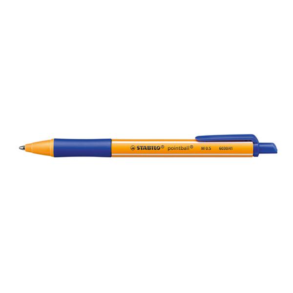 Penna a sfera a scatto Pointball® - ricaricabile - tratto 0,5 mm - blu - Stabilo Foto prodotto