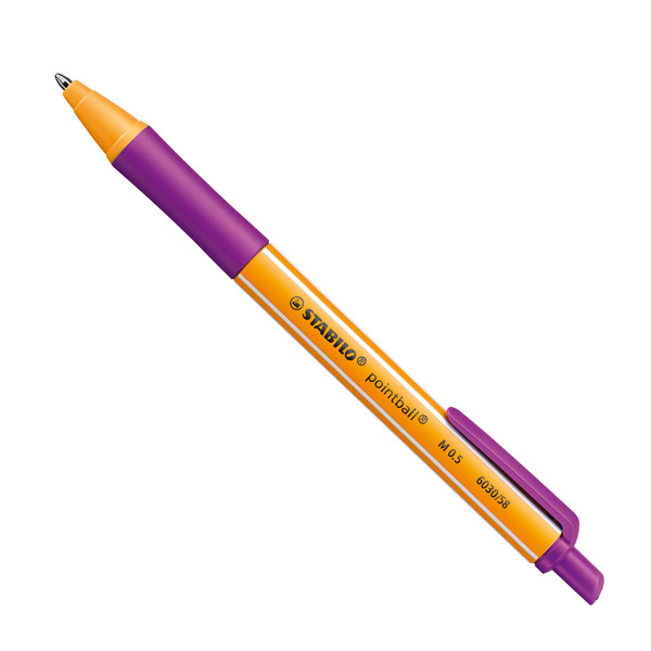 Penna a sfera a scatto Pointball® - ricaricabile - tratto 0,5 mm - lilla - Stabilo Foto prodotto