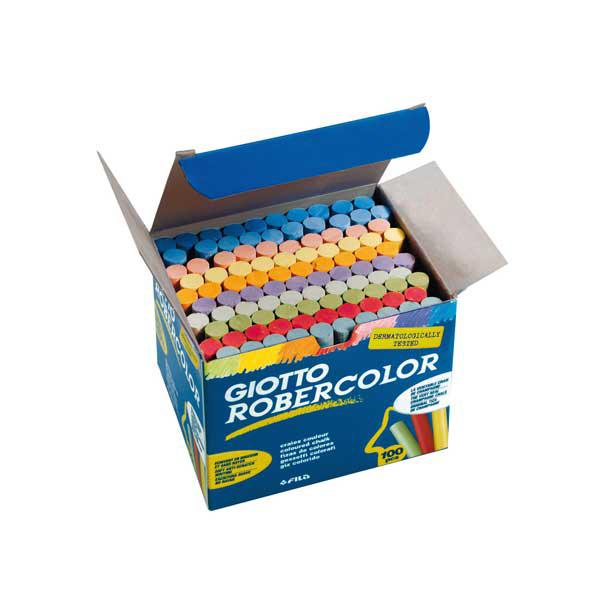 Gessetti tondi Robercolor - lunghezza 80 mm - Ø 10 mm - colori assortiti - scatola 100 pezzi - Giotto Foto prodotto