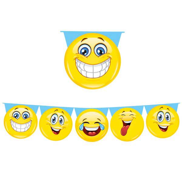 Festone sagomato Emoticons - 6 mt - plastica - Big Party Foto prodotto