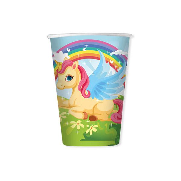 Bicchieri Unicorni - cc. 200 - conf. 8 pezzi - Big Party Foto prodotto