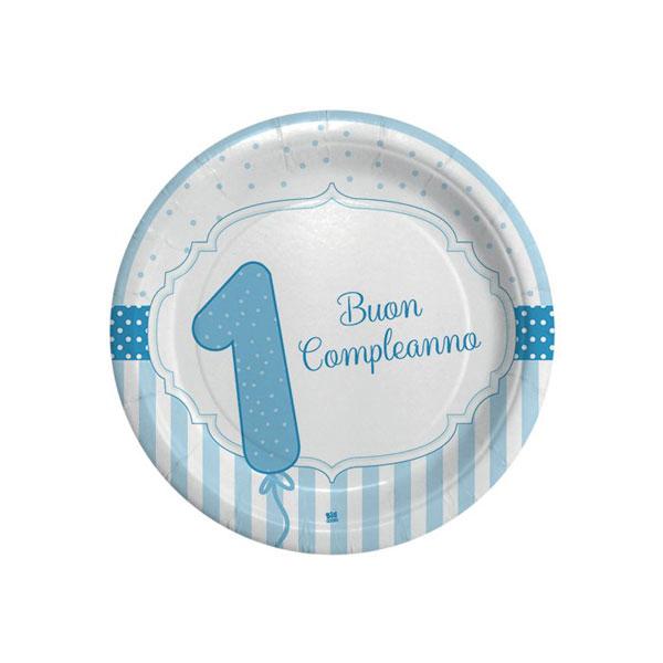 Piatti Buon Primo Compleanno - Ø 18 cm - carta - celeste - conf. 8 pezzi - Big Party Foto prodotto