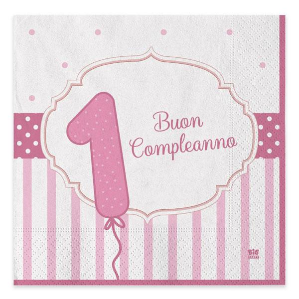 Tovaglioli Buon Primo Compleanno - 33 x 33 cm - carta - rosa - conf. 20 pezzi - Big Party Foto prodotto