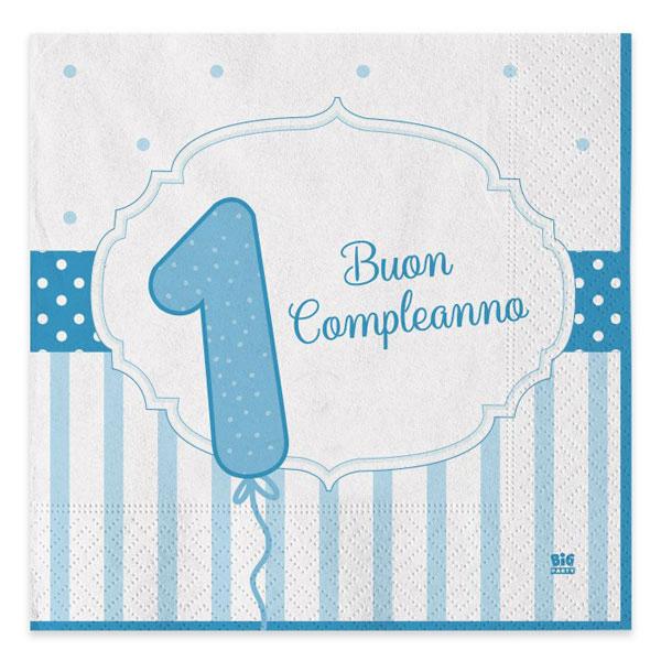 Tovaglioli Buon Primo Compleanno - 33 x 33 cm - carta - celeste - conf. 20 pezzi - Big Party Foto prodotto