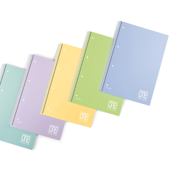 Maxiquaderno spiralato con fori One Color Pastel - A4 - 1 rigo - 80 fogli - 80gr - copertina ppl - Blasetti Foto prodotto