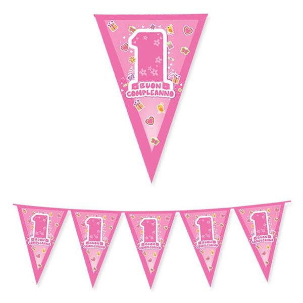 Festone Bandierine One Pink - 600 x 25 cm - plastica - rosa - Big Party Foto prodotto