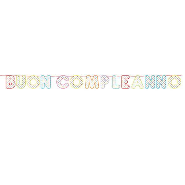 Festone Buon Compleanno Pois Multicolor - 6 mt x 25 cm - cartoncino - Big Party Foto prodotto