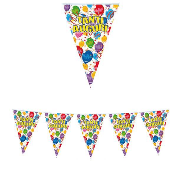 Festone bandiere Tanti Auguri - 6 mt - plastica - Big Party Foto prodotto
