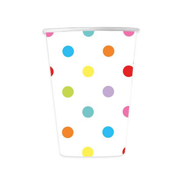 Biccchieri Pois multicolor - cc. 200 - carta - conf. 8 pezzi - Big Party Foto prodotto