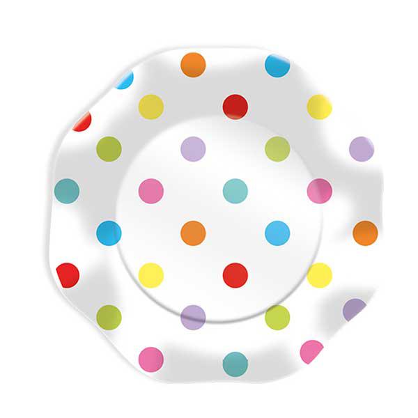 Piatti Pois multicolor - Ø 23 cm - carta plastificata - conf. 10 pezzi - Big Party Foto prodotto