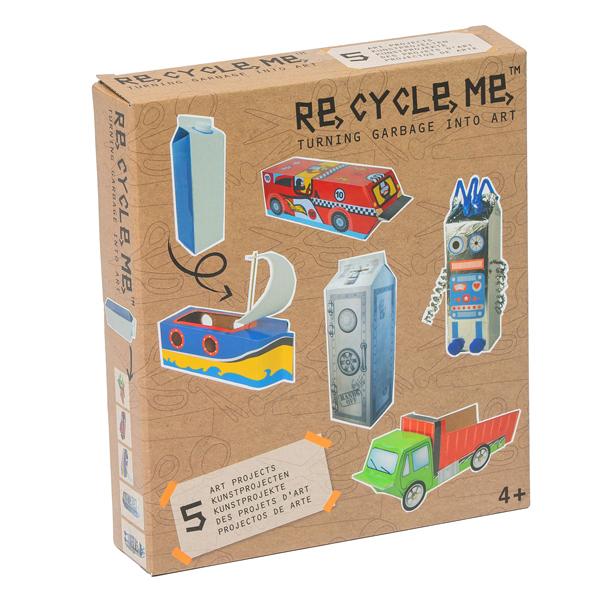 Kit ecosostenibile per bricolage - Milk carton boys - 22 x 25 cm - ReCycle Me Foto prodotto