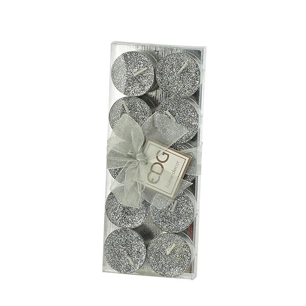 Candela lumino glitter - argento - 10 pezzi - EDG Foto prodotto