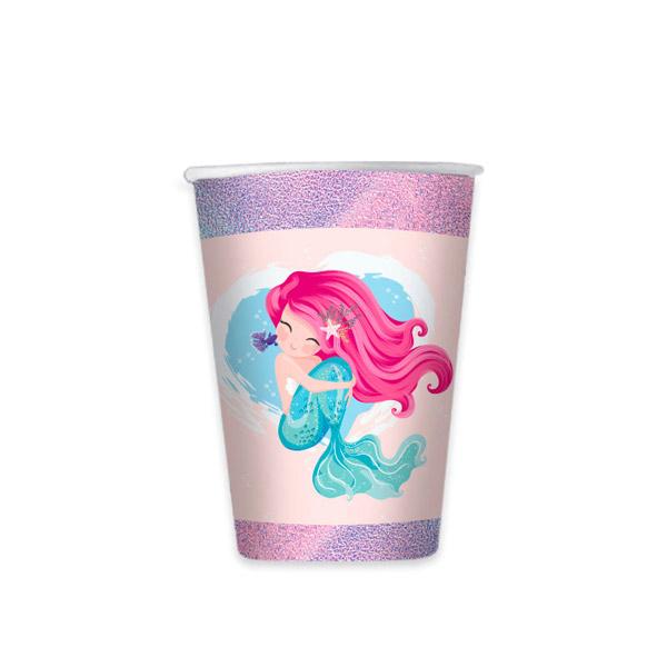 Bicchieri Sirena - cc. 200 - carta - conf. 8 pezzi - Big Party Foto prodotto