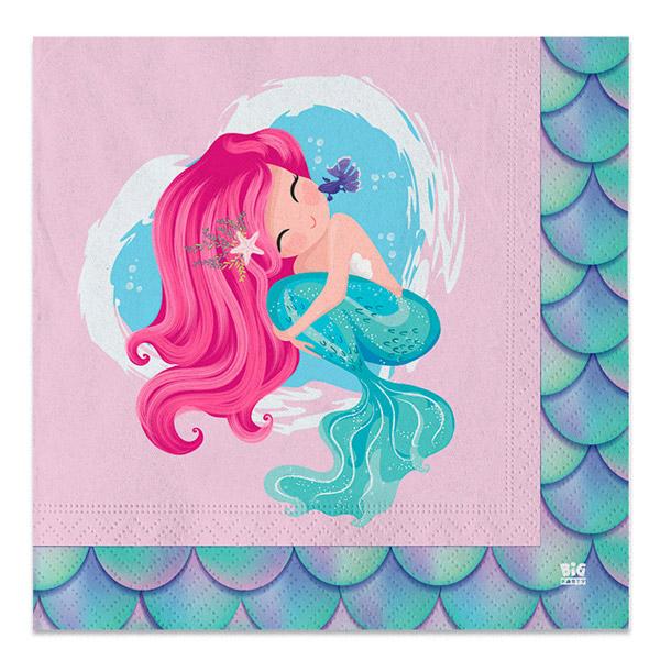 Tovaglioli Sirena - 33 x 33 cm - carta - conf. 20 pezzi - Big Party Foto prodotto