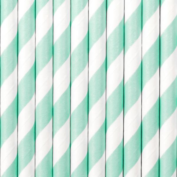 Cannucce carta - strisce bianco e celeste - conf. 10 pezzi - Partydeco Foto prodotto