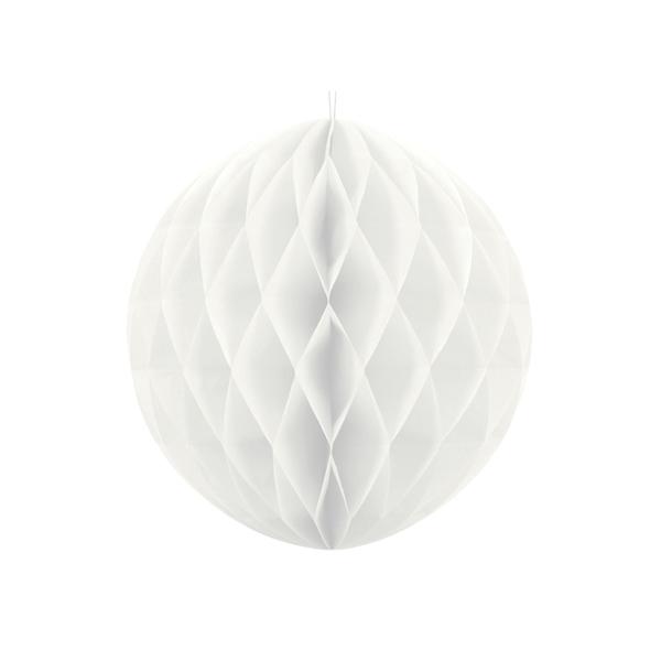 Palla di carta a nido d'ape - 20 cm - bianca - Partydeco Foto prodotto
