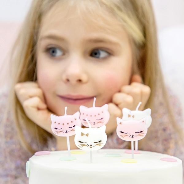 Candeline di compleanno - gatto - conf. 6 pezzi - Partydeco Foto prodotto Photo 02 S