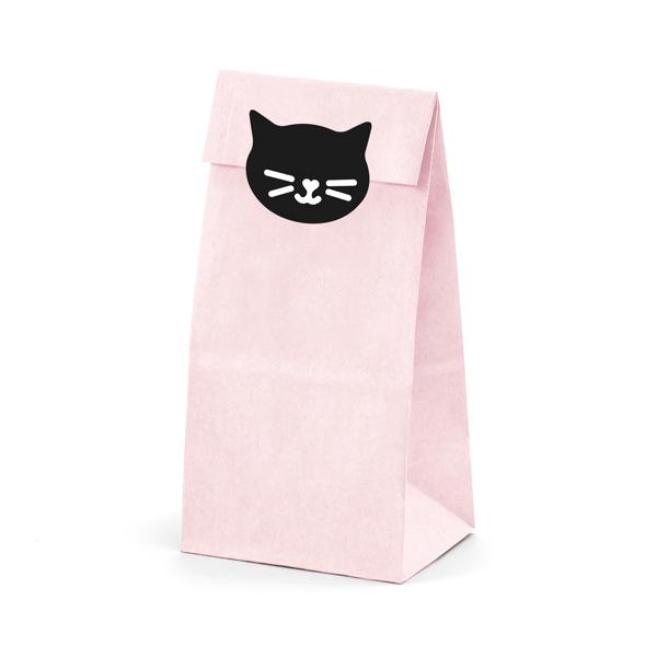 Sacchetti carta con etichette adesive - gatto - 8 X 18 X 6 cm - conf. 6 pezzi - Partydeco Foto prodotto