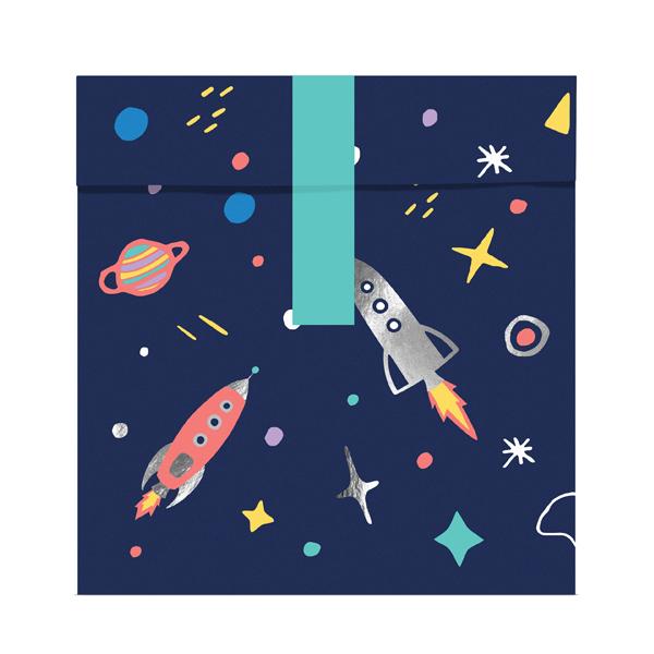 Sacchetti carta con etichette adesive - space party - 13 x 14 cm - conf. 6 pezzi - Partydeco Foto prodotto