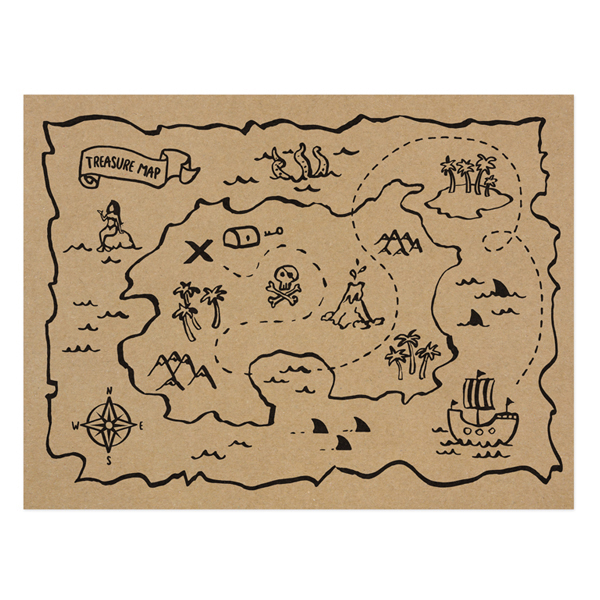 Tovagliette di carta - mappa del tesoro - pirati - 40  x 30 cm - conf. 30 pezzi - Partydeco Foto prodotto