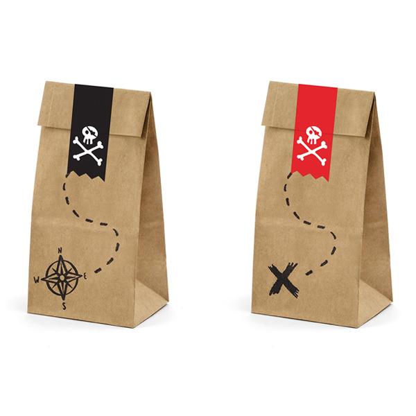 Sacchetti carta con etichette adesive - pirati - 8 x 18 x 6 cm - conf. 6 pezzi - Partydeco Foto prodotto