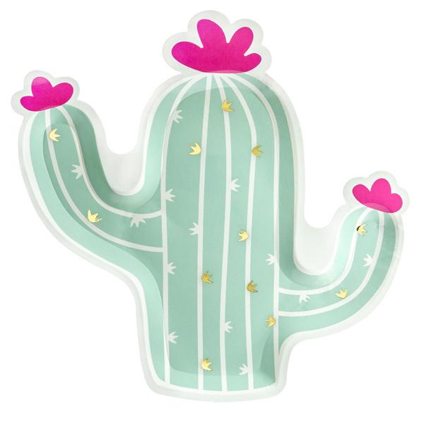 Piatti carta - cactus - 23 x 24 cm - conf. 6 pezzi - Partydeco Foto prodotto