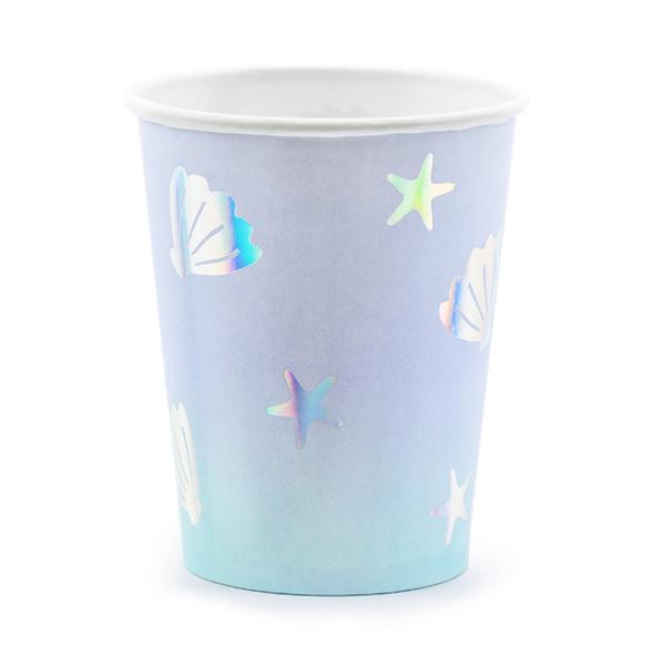 Bicchieri carta - conchiglie e stelle marine - 200 ml - conf. 6 pezzi - Partydeco Foto prodotto