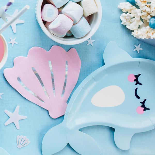 Tovaglioli carta - conchiglia - rosa - 13 x 12,5 cm -  conf. 20 pezzi - Partydeco Foto prodotto Photo 02 S