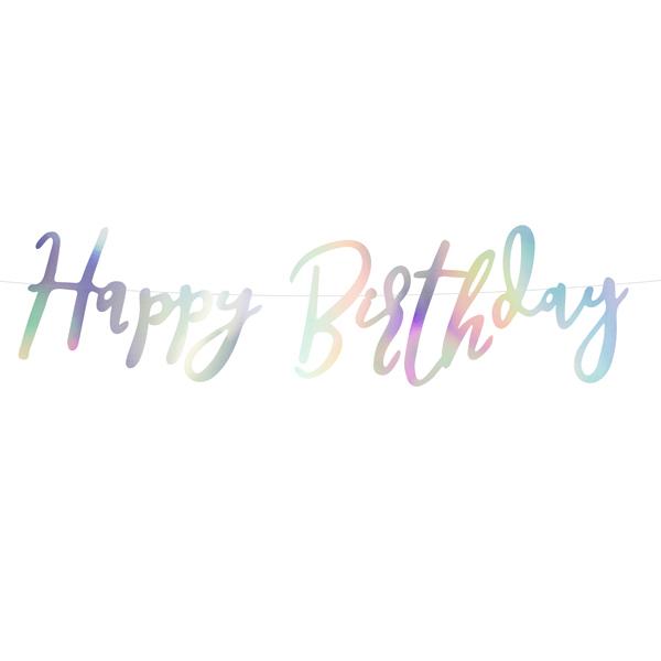 Festone - iridescente - happy birthday - 16,5 x 62 cm - Partydeco Foto prodotto