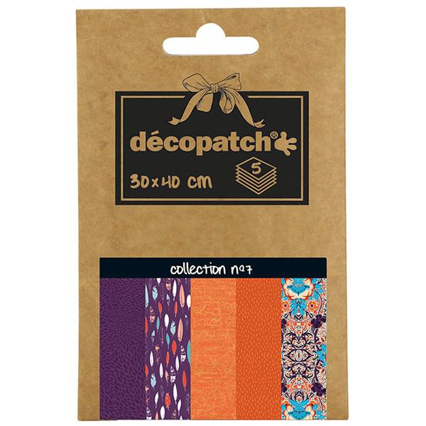 Carta per decoupage n°7 - 30 x 40 cm - set 5 pezzi - multicolore - Decopatch Foto prodotto