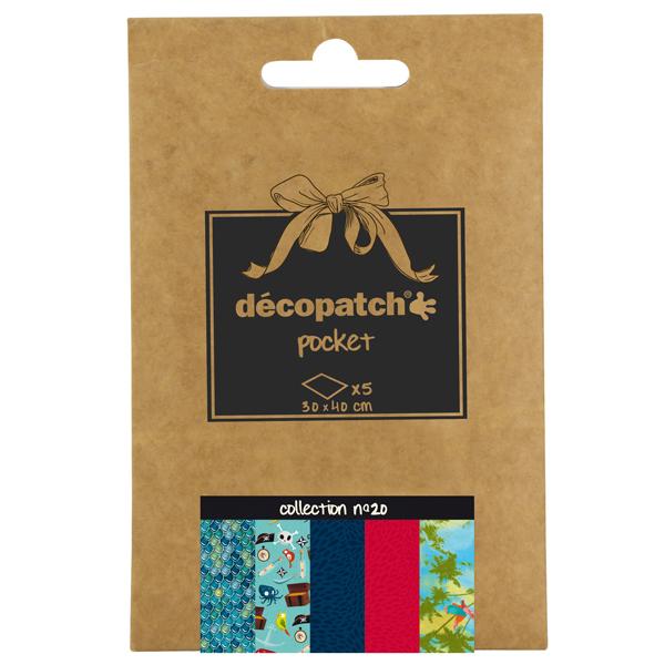 Carta per decoupage n°20 - 30 x 40 cm - set 5 pezzi - multicolore - Decopatch Foto prodotto
