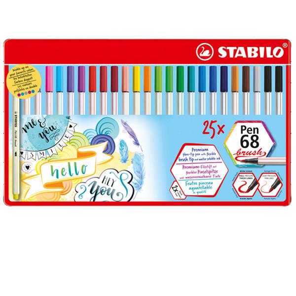 Pennarelli Pen 68 Brush - colori assortiti - scatola metallo 25 pezzi - Stabilo Foto prodotto