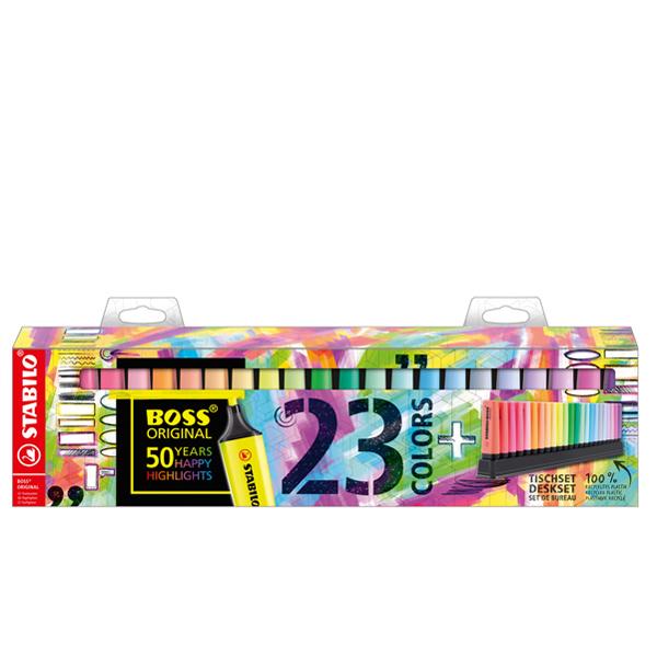 Evidenziatori Boss Original - tratto 2,0 - 5,0 mm - colori assortiti fluo + pastel - deskset edizione speciale 23 pezzi - Stabilo Foto prodotto