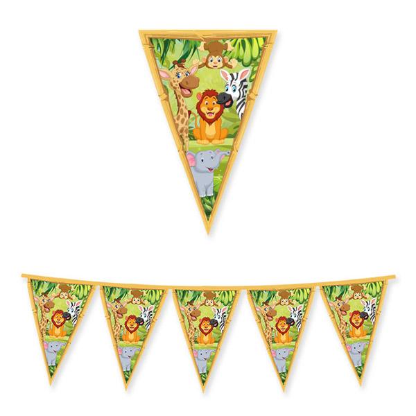 Festone Bandiere Giungla - 300 x 30 cm - cartoncino - Big Party Foto prodotto