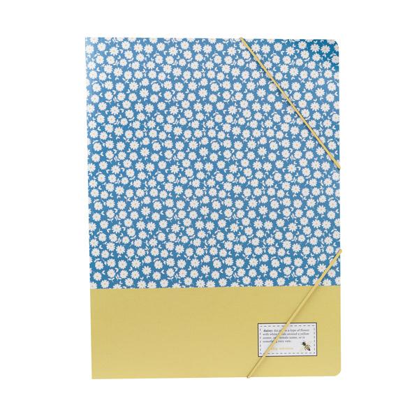 Cartella B'LOG FLOWERS Blue con elastico - 26 x 35 cm - 3 lembi - azzurro - Ancor Foto prodotto