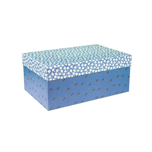 Scatola multiuso Medium B'LOG FLOWERS Blue - 31 x 20 x 13 cm - azzurro - Ancor Foto prodotto