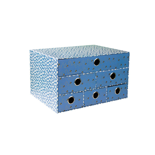 Cassettiera da scrivania B'LOG FLOWERS Blue - 6 cassetti - 25 x 34,5 x 20 cm - azzurro - Ancor Foto prodotto